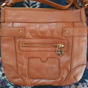 B. Makowsky Camel Leather Cross Body Shoulder Bag
